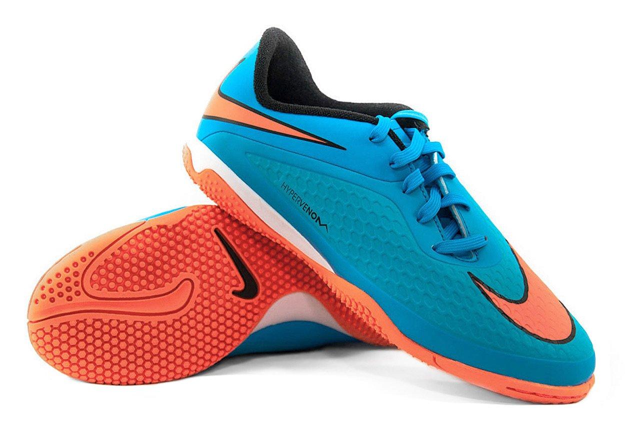 competitive price 1cbb8 7d2f4 Niebiesko-pomarańczowe buty piłkarskie na halę Nike Hypervenom Phelon IC  599811-484 JR