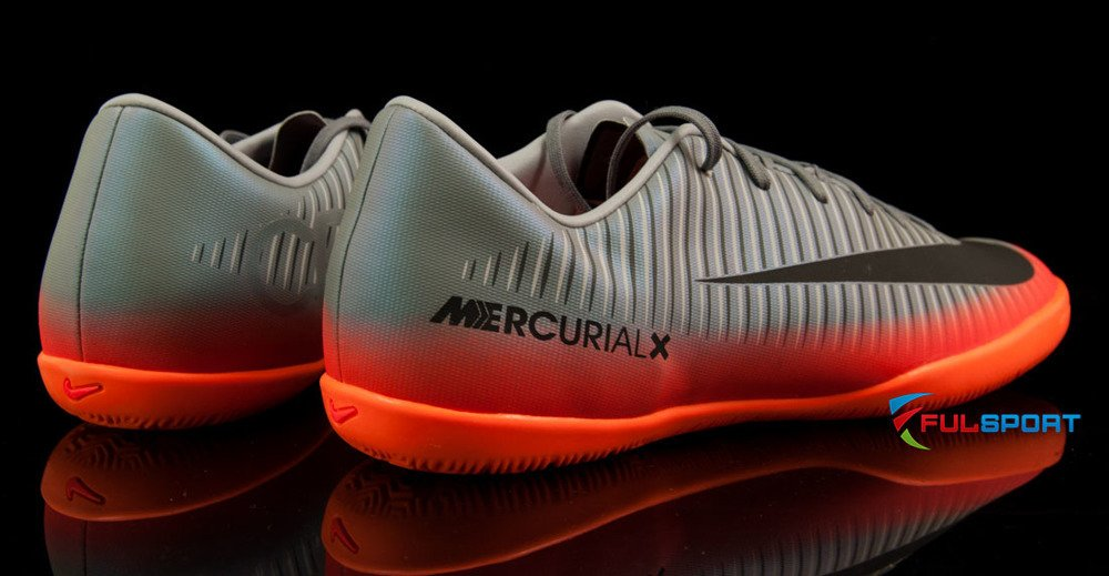 Szaro pomarańczowe buty piłkarskie na halę Nike Mercurial Victory IC CR7 852488 001 JR